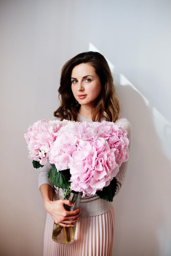 Gałąź różowa hortensja obrazy royalty free
