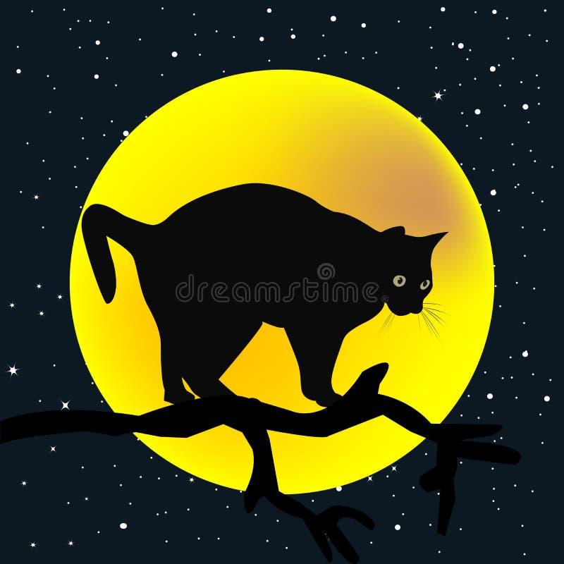 Gałąź z kotem w księżyc tle royalty ilustracja