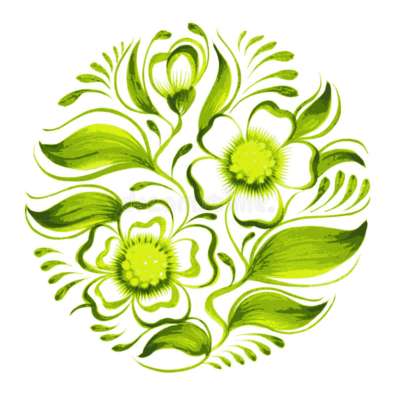 Gałąź zielona herbata z kwiatami i liśćmi royalty ilustracja