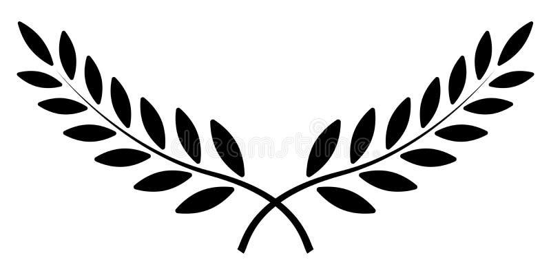 Gałązka oliwna, Laurowy wianek, wektorowy zwycięzca nagrody symbol, szyldowy zwycięstwo i bogactwo w imperium rzymskim, ilustracji