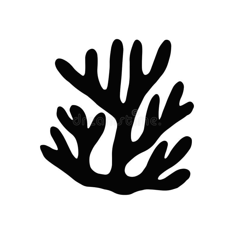 Gałęzatki kelp Odosobniona sylwetka Morska roślina ilustracja wektor