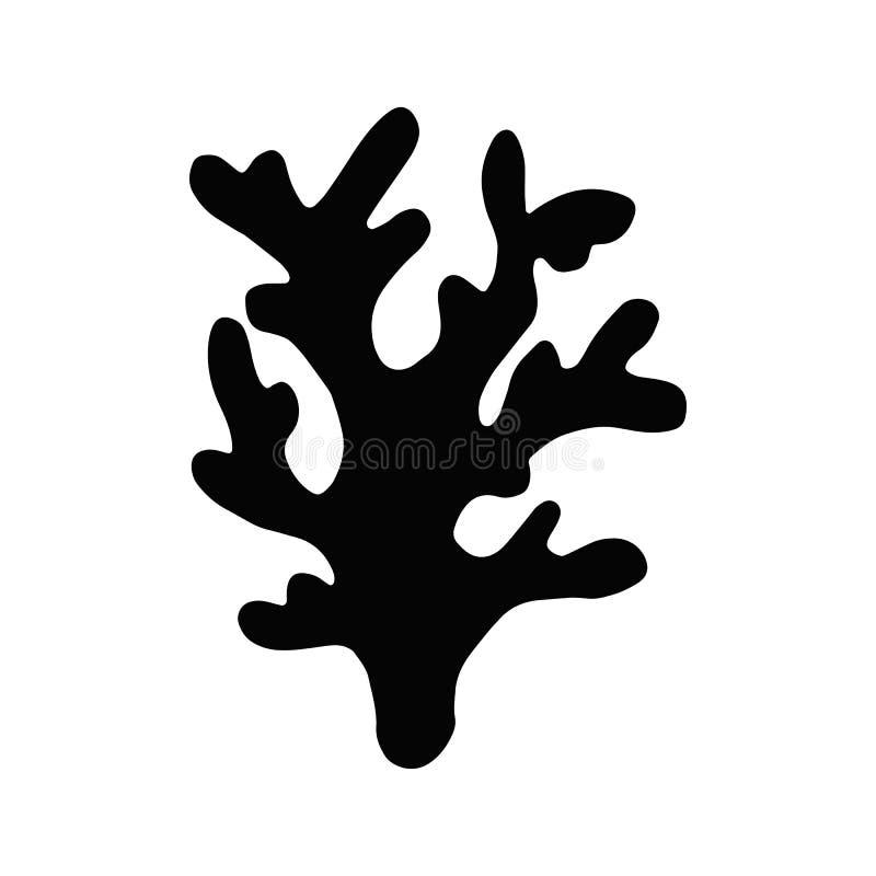 Gałęzatki kelp Odosobniona sylwetka przedmiot denna roślina ilustracji