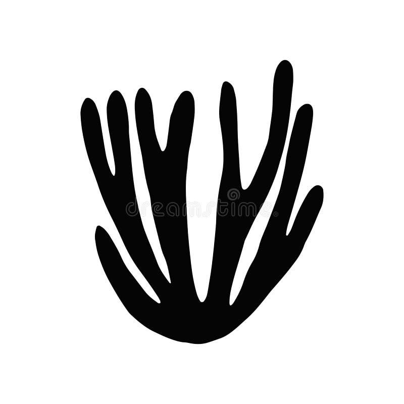 Gałęzatki kelp Odosobniona sylwetka zaciemnia royalty ilustracja