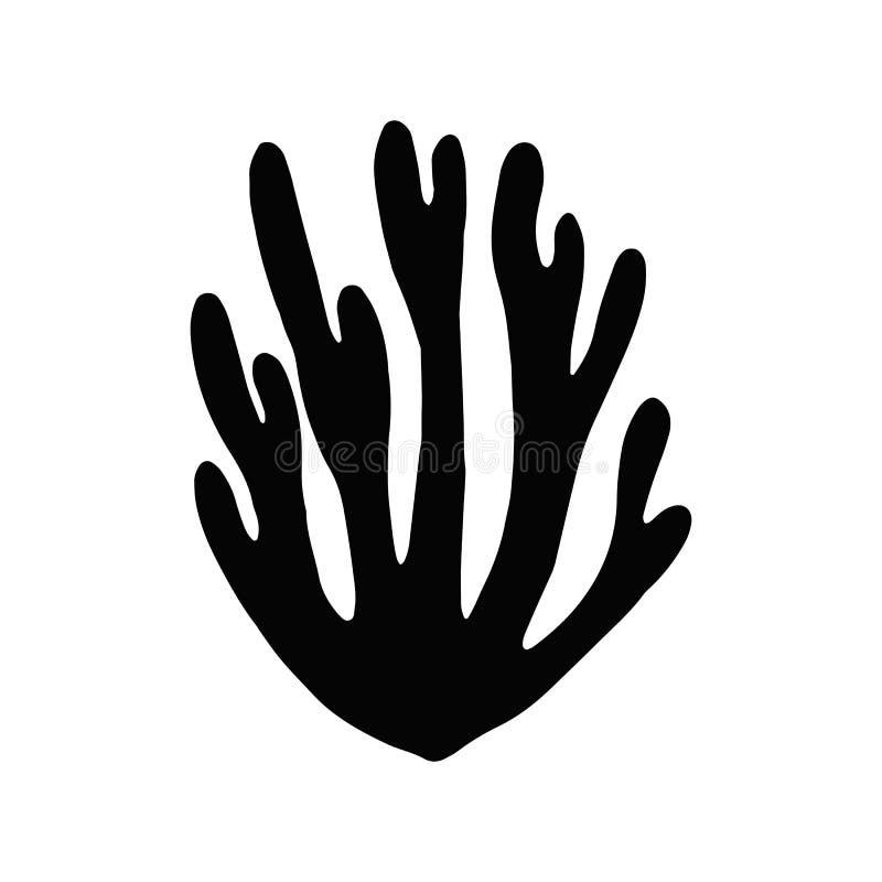 Gałęzatki kelp Odosobniony przedmiot morskie rośliny ilustracja wektor