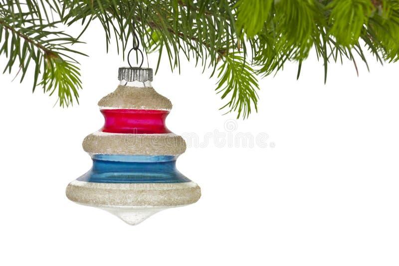 gałęziaści boże narodzenia ornamentują drzewnego rocznika fotografia stock