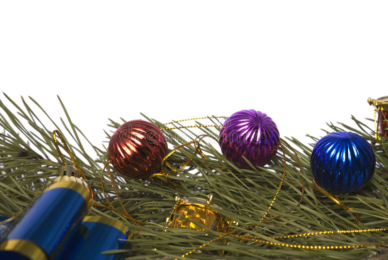 gałęziaści cedrowi boże narodzenie ornamenty zdjęcia stock