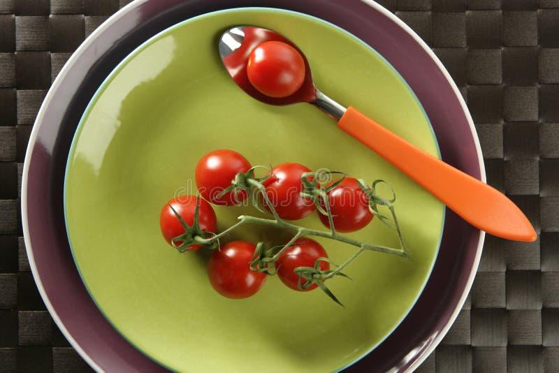 gałęziaści czereśniowi naczynia zieleni czerwieni łyżki pomidory obraz royalty free