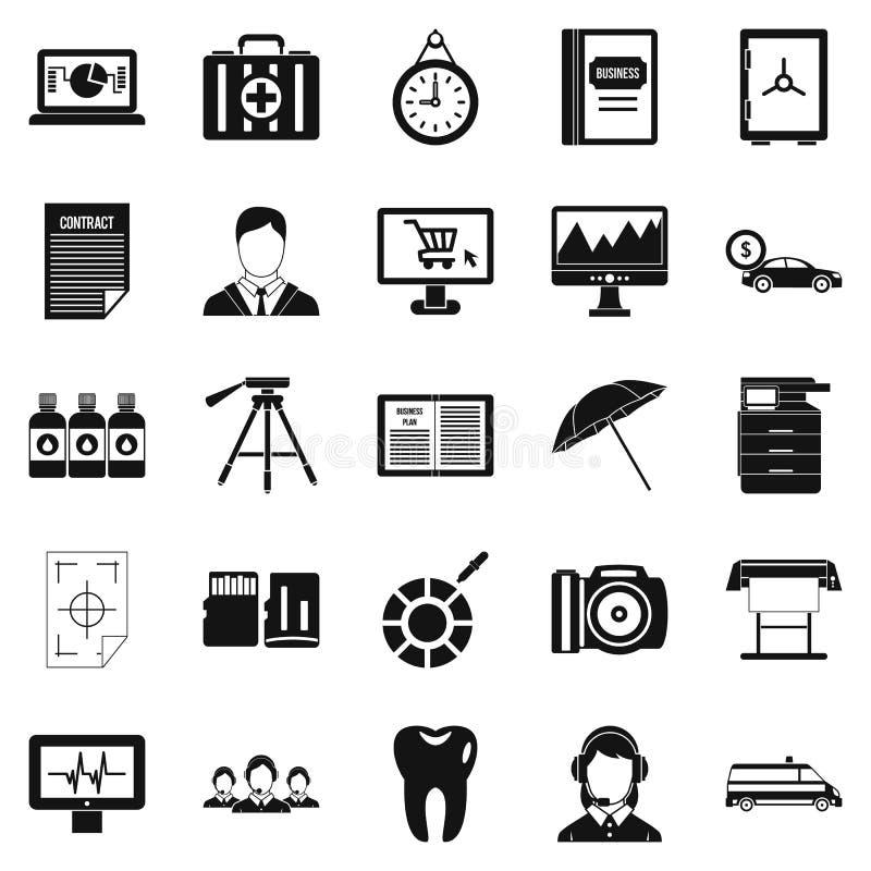 Gałęziastego biura ikony ustawiać, prosty styl ilustracji