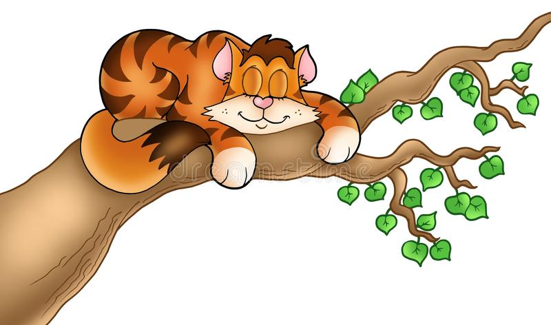 gałęziastego kota sypialny drzewo ilustracja wektor