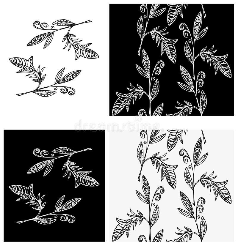 Gałęziastego roślina wzoru bezszwowa tapeta ilustracji