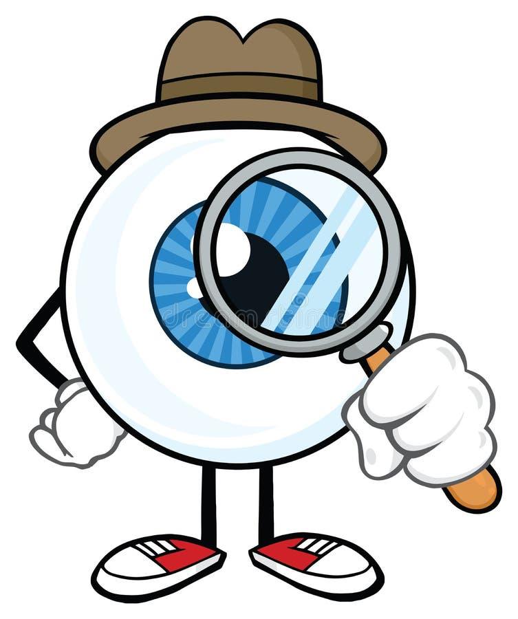 Gałki ocznej kreskówki maskotki Detektywistyczny charakter ilustracji