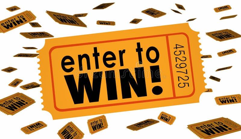 Ga aan van de de Loterijloterij van de Winstwedstrijd Gelukkige binnen het Kaartjeswoorden royalty-vrije illustratie