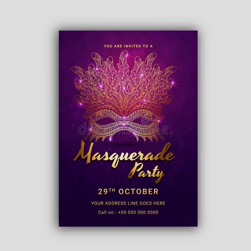 Ga Carnaval-Masker, Maskerade, Mardi Gras stock illustratie