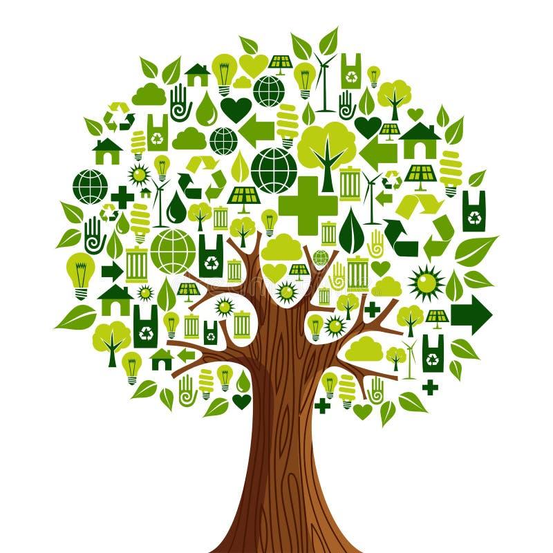 Ga de Groene boom van het pictogrammenconcept royalty-vrije illustratie