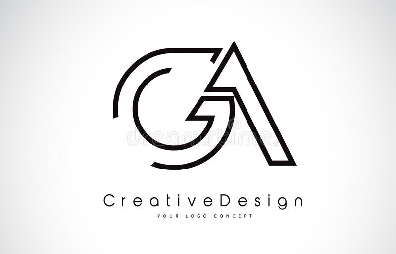 GA G uma letra Logo Design em cores pretas ilustração royalty free