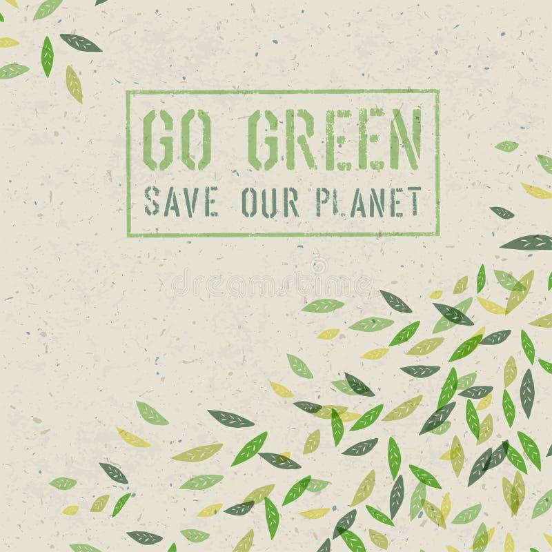 Ga Groen concept op gerecycleerde document textuur Vector stock illustratie