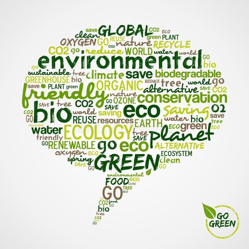 Ga Groen. De de woordenwolk van Eco in sociale media borrelt vector illustratie