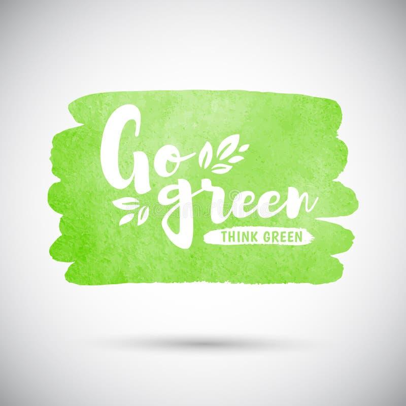 Ga groen denken groene illustratie met waterverfachtergrond royalty-vrije illustratie