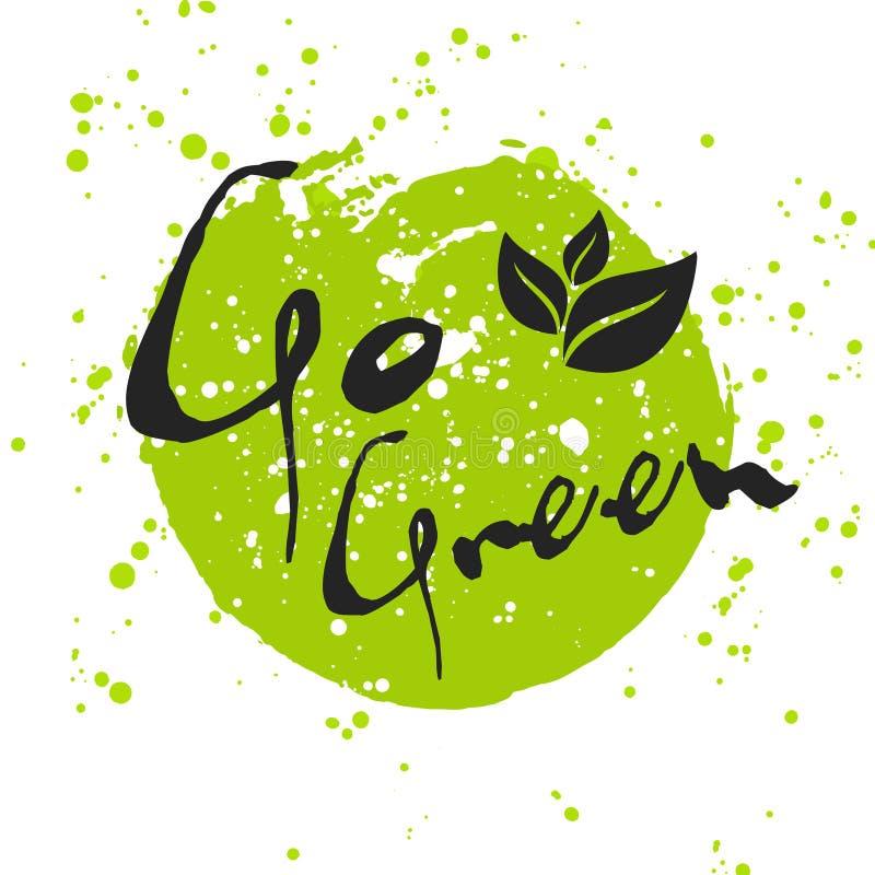 Ga Groen Eco-pictogram met blad, vector bioteken op waterverfvlek stock illustratie