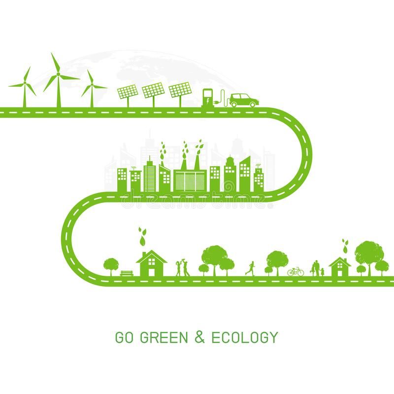 Ga groen en Ecologieconcept met groene stad op weg, Wereldmilieu en duurzaam ontwikkelingsconcept vector illustratie