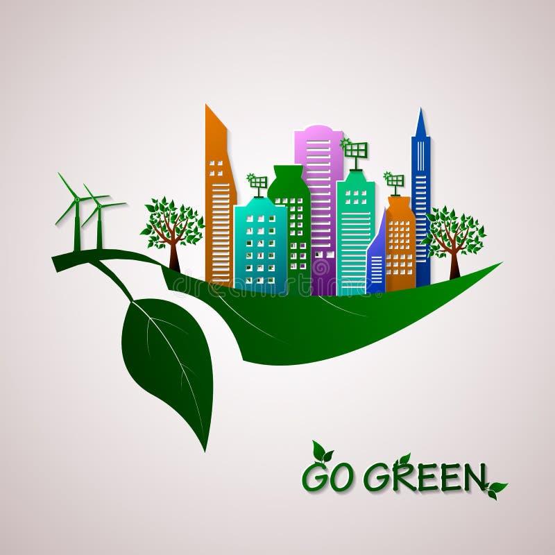 Ga groen ontwerpmalplaatje Het concept van Eco royalty-vrije illustratie