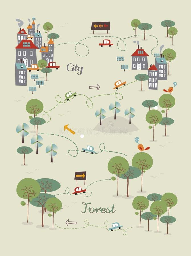 Ga groen stadsontwerp royalty-vrije illustratie