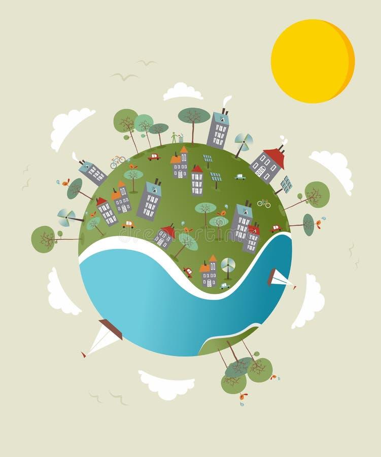 Ga groen wereldontwerp vector illustratie