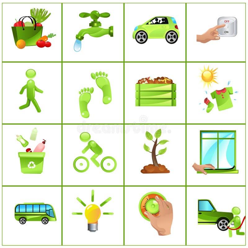 Ga groene conceptenpictogrammen royalty-vrije illustratie