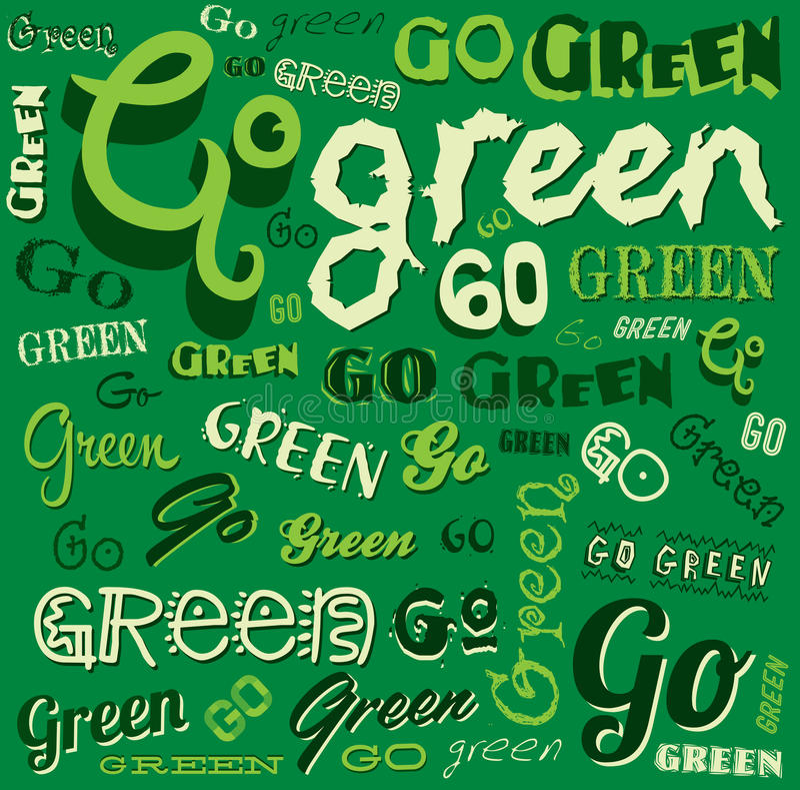 Ga Groene Eco-Word achtergrond stock illustratie
