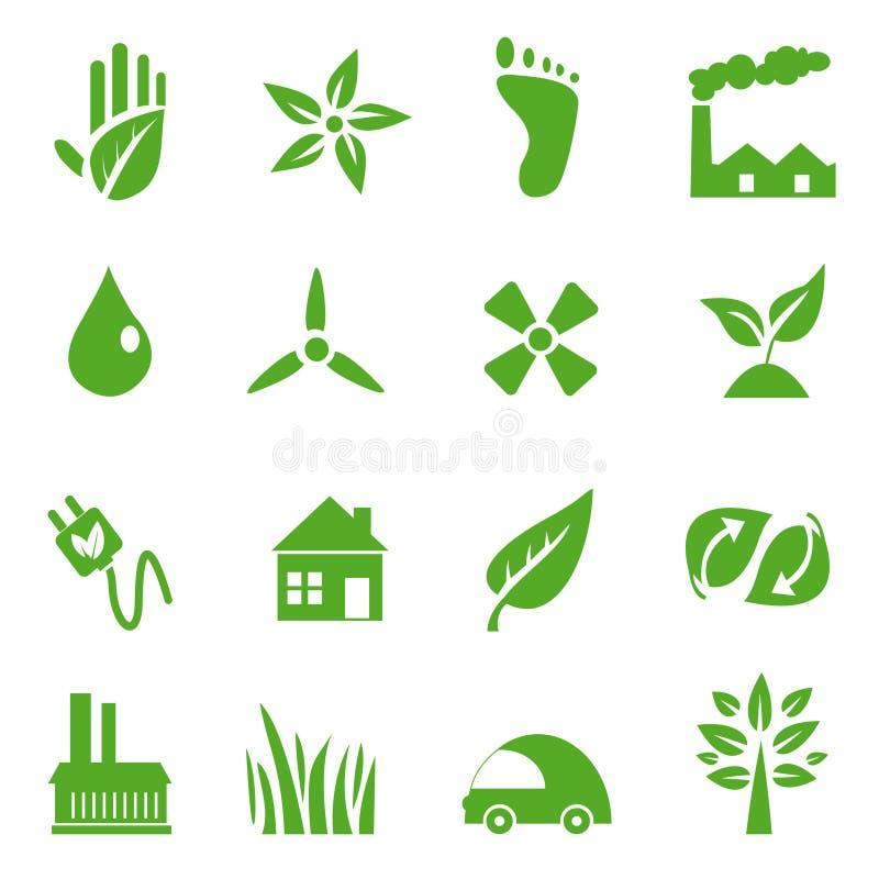Ga Groene geplaatste Pictogrammen - 03 stock illustratie