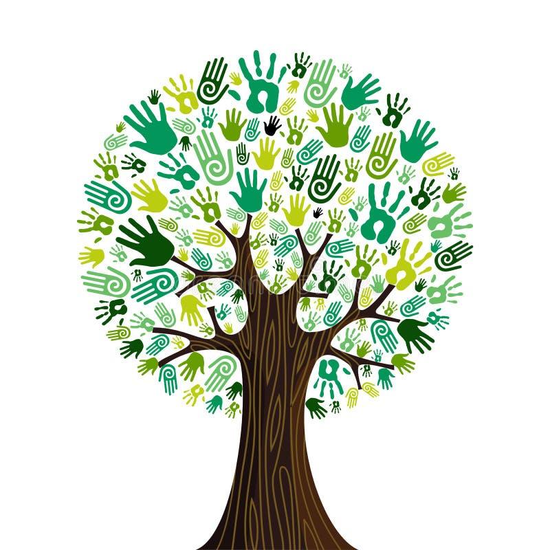 Ga groene handen samenwerkingsboom royalty-vrije illustratie