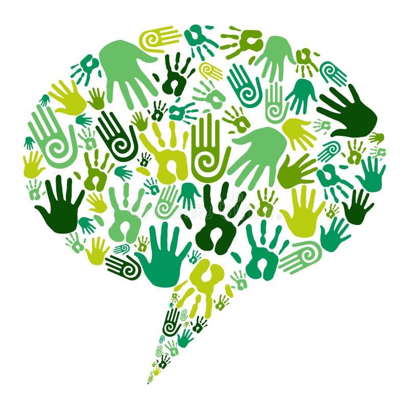 Ga groene handenmededeling vector illustratie