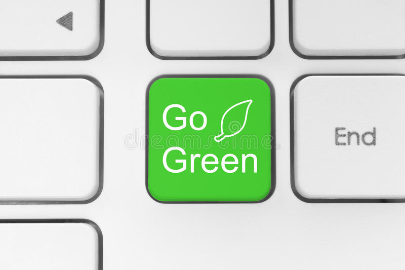 Ga groene knoop op toetsenbord vector illustratie