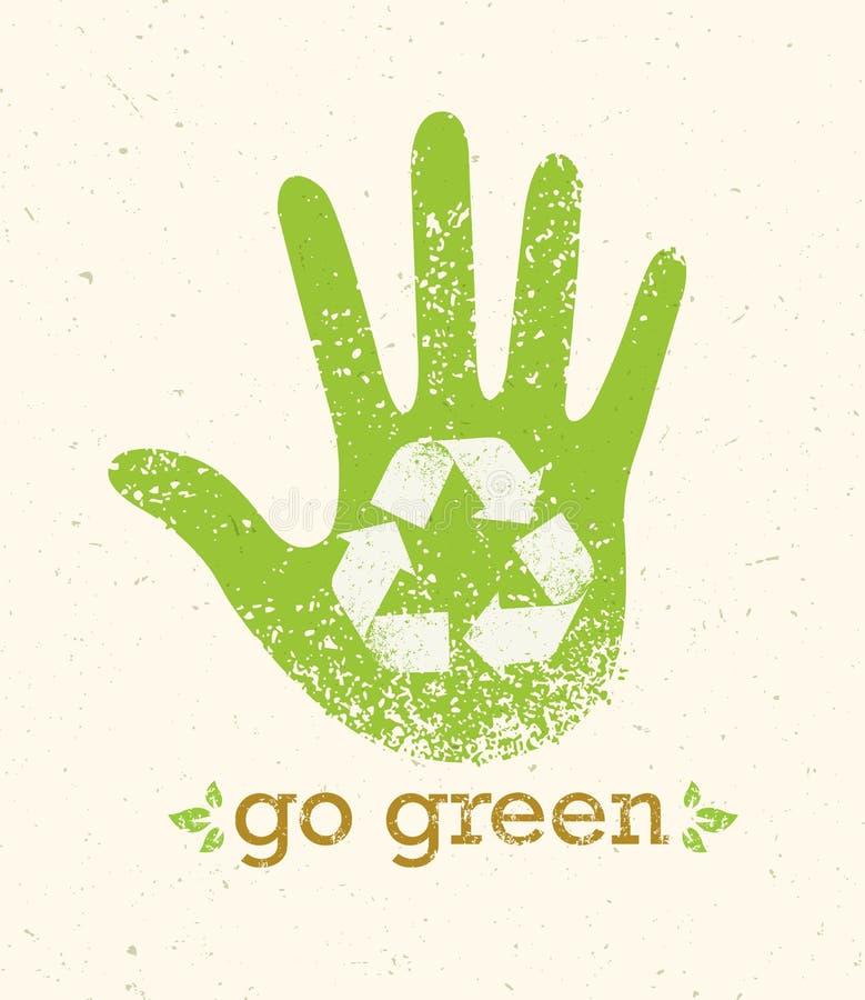 Ga Groene Kringloop verminderen de Afficheconcept van Hergebruikseco Vector Creatieve Organische Illustratie op Ruwe Achtergrond stock illustratie