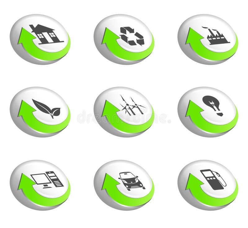 Ga groene pictogrammen stock illustratie