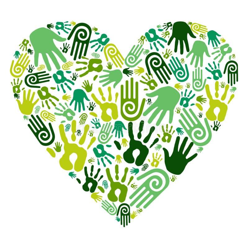 Ga het groene hart van de handenliefde vector illustratie