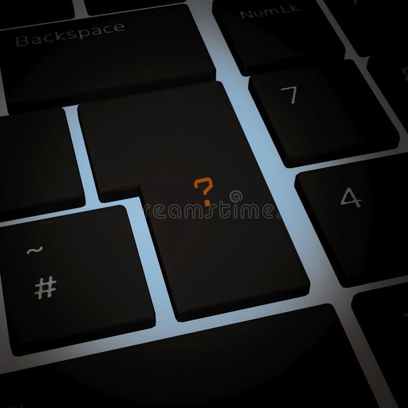 Ga knoop van toetsenbord met Vraag in stock fotografie