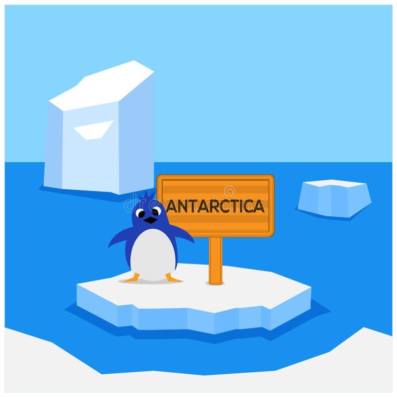 Ga naar Antarctica Vlak Ontwerp pinguïnen en raad royalty-vrije illustratie