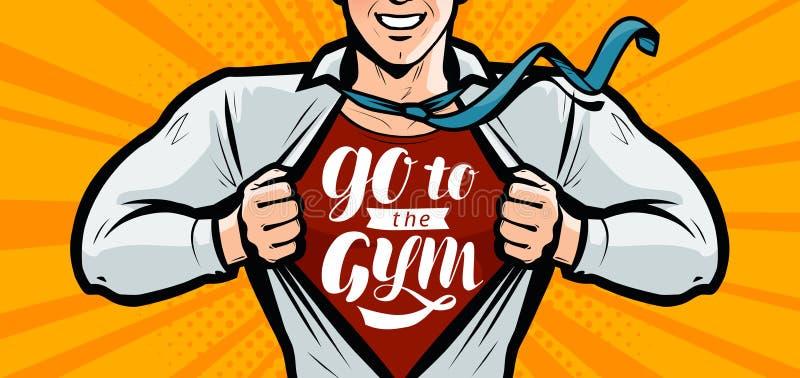 Ga naar de gymnastiek, het Inspirational motieven van letters voorzien Sport, fitness bodybuilding banner Vectorillustratie in st vector illustratie