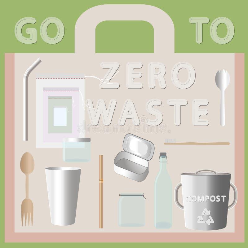 Ga naar nul afval royalty-vrije illustratie