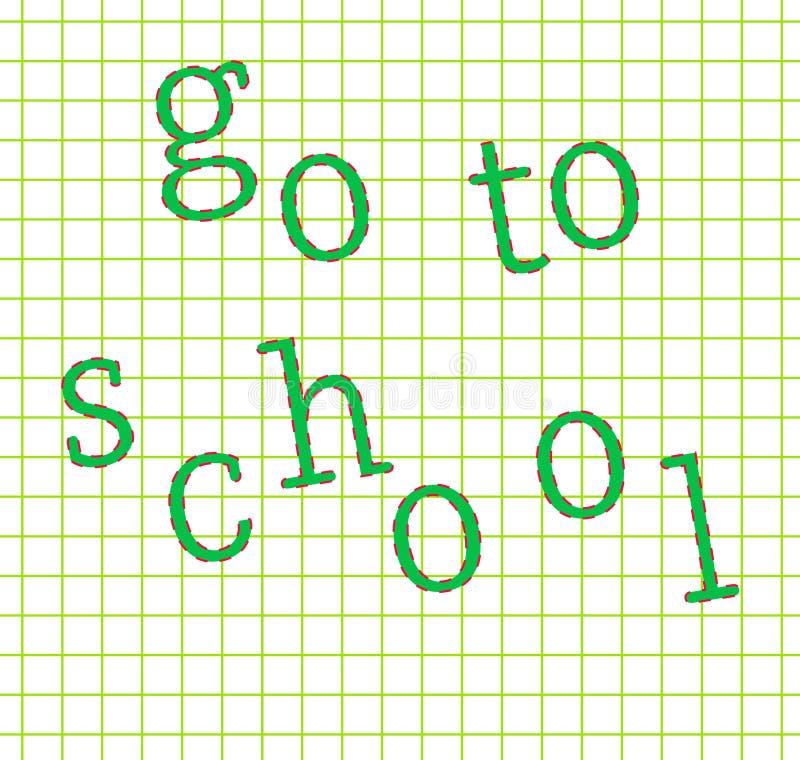 Ga naar schoolconcept schaar en potloden op de achtergrond van kraftpapier-document vector illustratie
