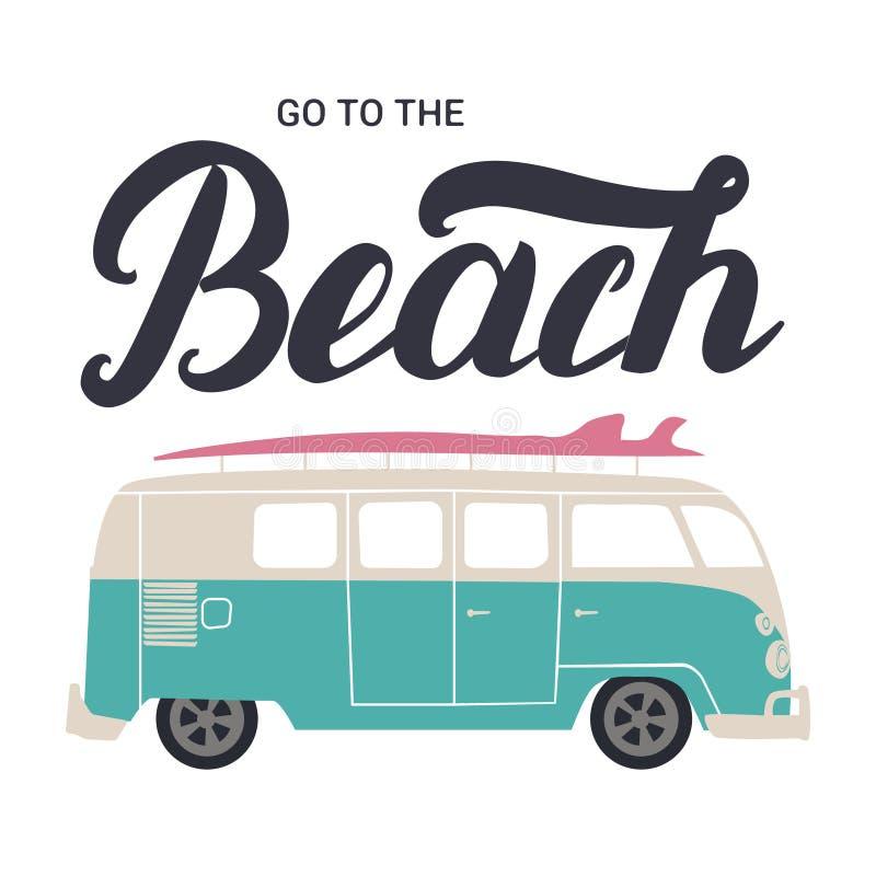 Ga naar strandhand het van letters voorzien met brandingsbus stock illustratie
