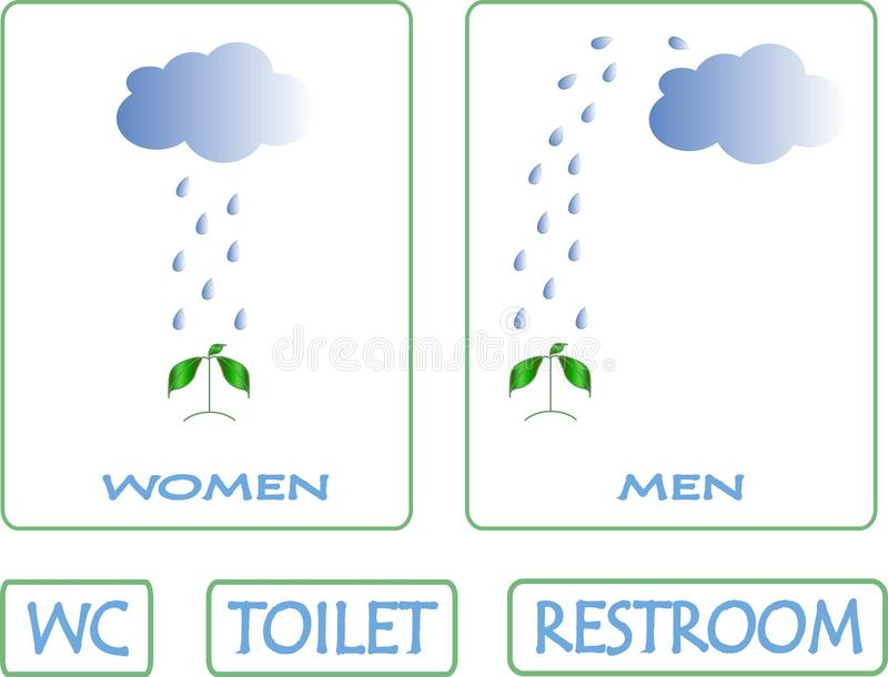 Ga naar toilet deze manier De blauwe wolk, dalingen van regen giet op groene installatie stock illustratie