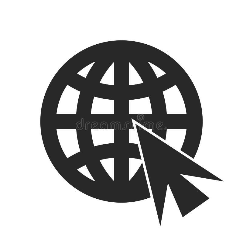 Ga naar Webpictogram in in vlakke die stijl op grijze achtergrond wordt ge?soleerd Websitepictogram Internet-symbool voor uw webs vector illustratie