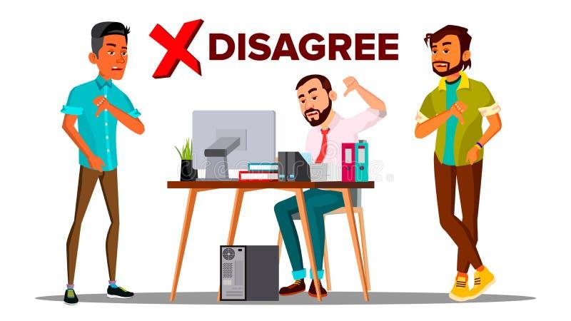 Ga Persoonsvector niet akkoord De zaken gaan Afkeermensen niet akkoord Vinger neer Negatief Teken Illustratie stock illustratie