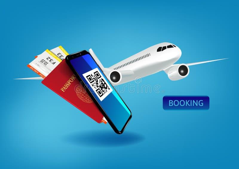 Ga Reis het Boeken Concept met een Mobiel Kaartje van het Passagiersvliegtuig voor Web en App stock illustratie