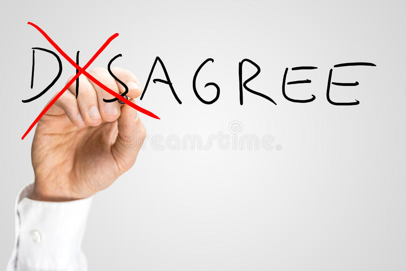Ga tegenover Agree niet akkoord stock fotografie
