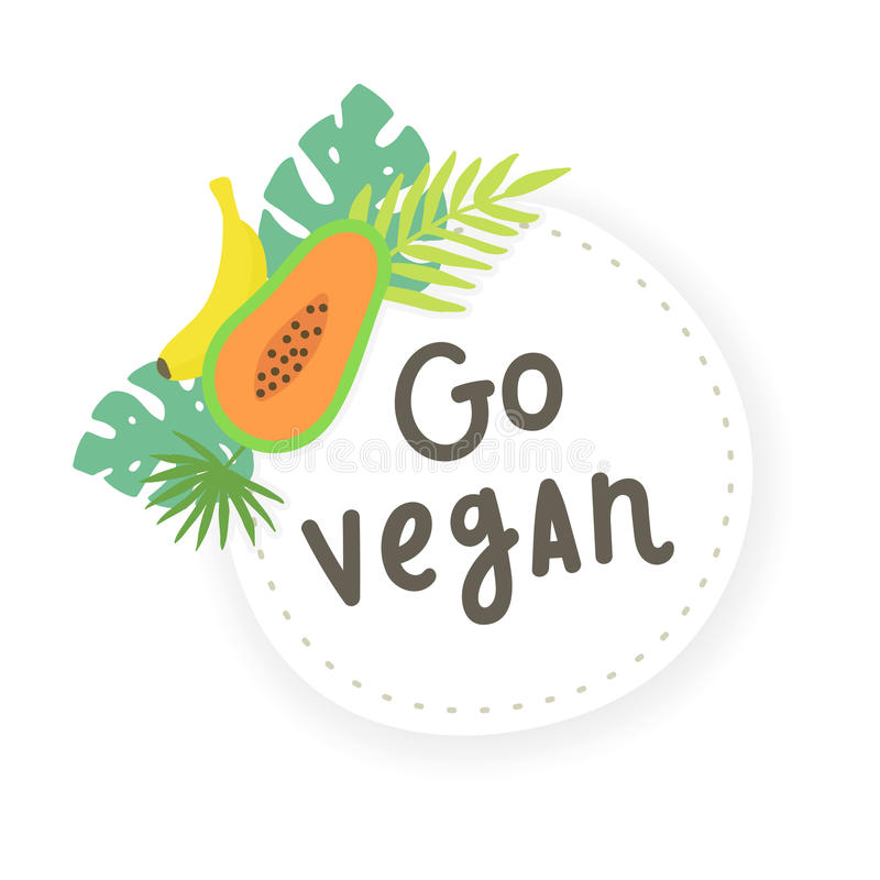 Ga veganist Fruitsticker vector illustratie
