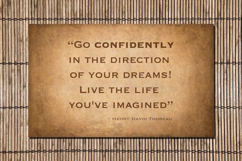 Ga vol vertrouwen - Henry David Thoreau stock foto