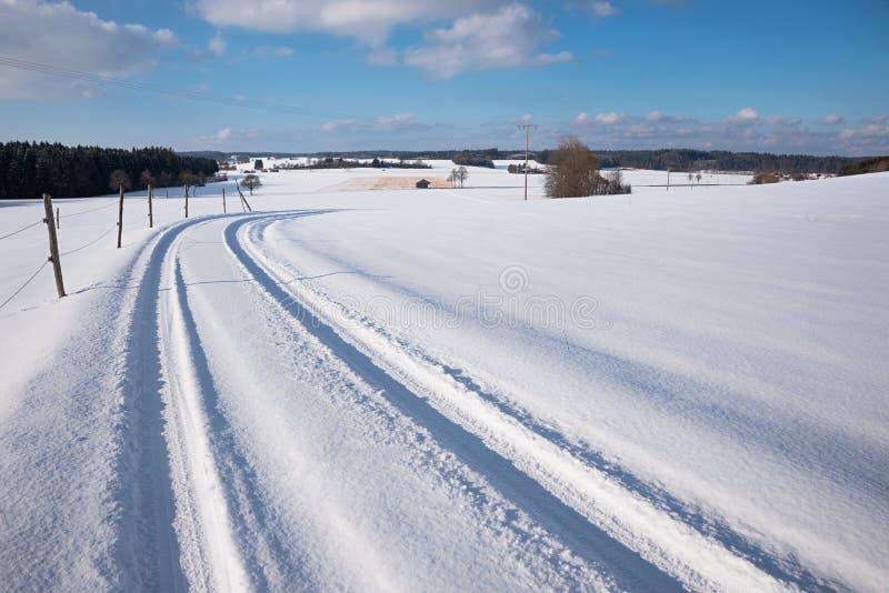 Ga voor een gang in het sneeuw landelijke landschap met de steeg van het land stock afbeeldingen